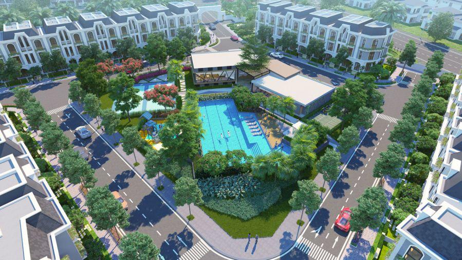 Phoi canh CV ho boi Spa tai du an Lavilla Green city
